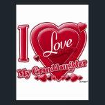 "I Love My Granddaughter red - heart Postcard<br><div class=""desc"">I Love My Granddaughter red - heart</div>"