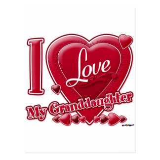 I Love My Granddaughter red - heart Postcard