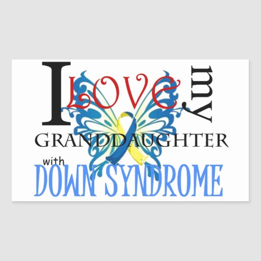 I Love My Granddaughter with Down Syndrome Rectangular Sticker