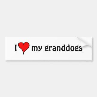 I Love My Granddogs Car Bumper Sticker