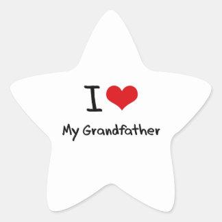 I Love My Grandfather Star Stickers