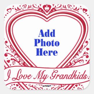 I Love My Grandkids! Photo Red Hearts Square Sticker