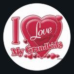 "I Love My Grandkids red - heart Classic Round Sticker<br><div class=""desc"">I Love My Grandkids red - heart</div>"