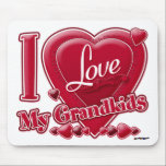 """I Love My Grandkids red - heart Mouse Pad<br><div class=""""desc"""">I Love My Grandkids red - heart</div>"""