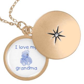 I love my grandma (blue bear) round locket necklace