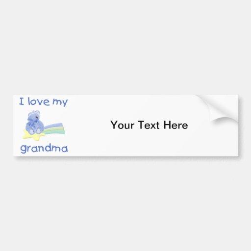 I Love My Grandma (blue bear w/ star) Car Bumper Sticker