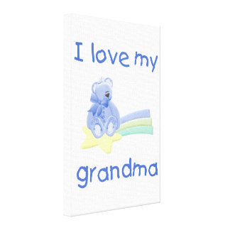 I Love My Grandma (blue bear w/ star) Canvas Print