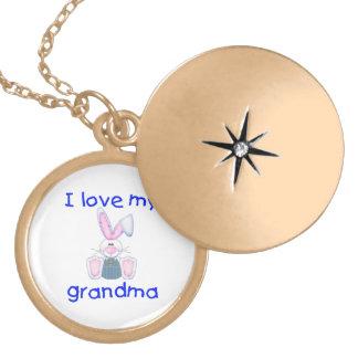 I love my grandma (boy bunny) round locket necklace