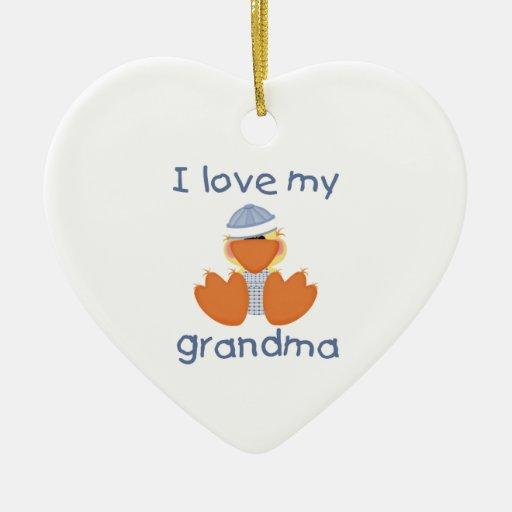 I love my grandma (boy ducky) Double-Sided heart ceramic christmas ornament