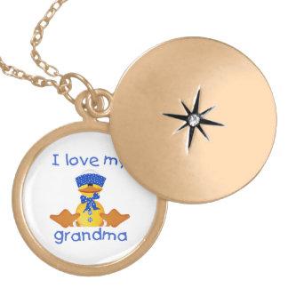 I love my grandma (boy ducky) round locket necklace
