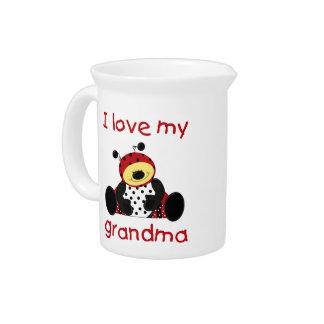 I love my grandma (boy ladybug) beverage pitchers