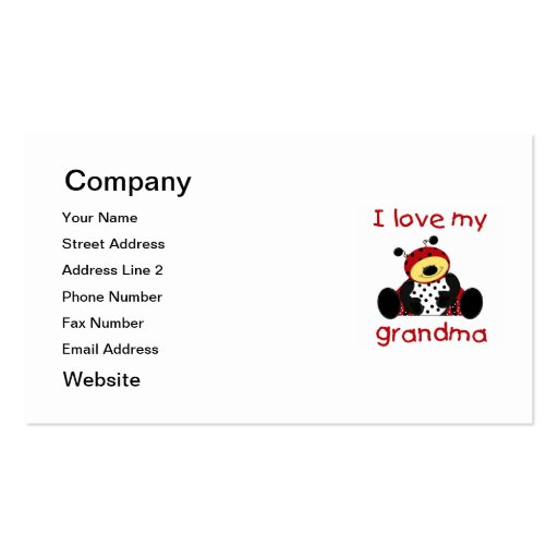 I love my grandma (boy ladybug) Double-Sided standard business cards (Pack of 100)