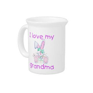 I love my grandma (girl bunny) beverage pitcher