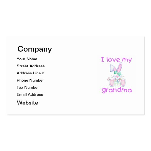 I love my grandma (girl bunny) Double-Sided standard business cards (Pack of 100)