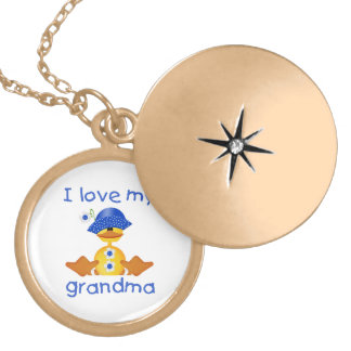 I love my grandma (girl ducky) round locket necklace