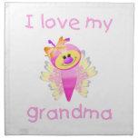 I love my grandma (girl flutterby) cloth napkin
