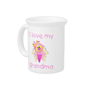 I love my grandma (girl flutterby) drink pitcher