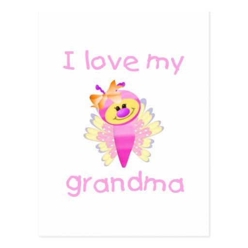 I love my grandma (girl flutterby) postcard