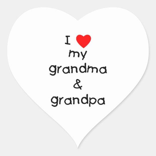 I love my grandma & grandpa heart sticker