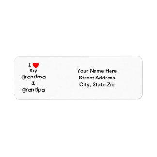 I love my grandma & grandpa return address label