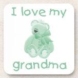 I Love My Grandma (green bear) Beverage Coaster