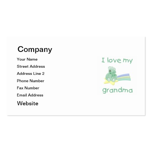 I Love My Grandma (green bear w/ star) Business Card