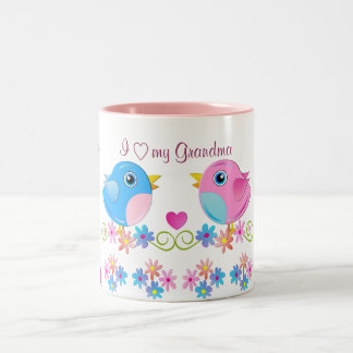 I love my grandma mug with cute baby birds