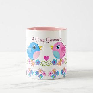 I love my grandma mug with cute baby birds