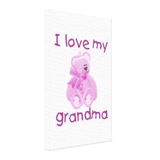 I Love My Grandma (pink bear) Canvas Print