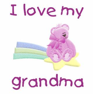 I Love My Grandma pink bear w star Photo Cutouts