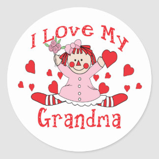 I love My Grandma Rag Doll & Hearts Classic Round Sticker