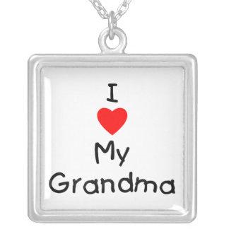 I love my grandma square pendant necklace