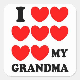 I Love My Grandma Square Sticker