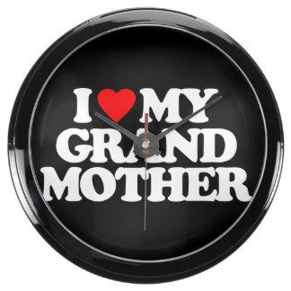 I LOVE MY GRANDMOTHER AQUA CLOCK