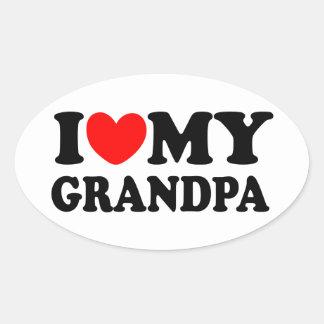 I Love My Grandpa Oval Sticker