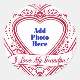 I Love My Grandpa! Photo Red Hearts Classic Round Sticker