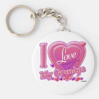 I Love My Grandpa pink/purple - heart Basic Round Button Keychain