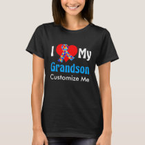 I Love My Grandson Autism Awareness Blue T-Shirt