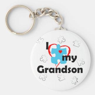 I Love My Grandson - Autism Basic Round Button Keychain