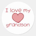 I love my grandson classic round sticker