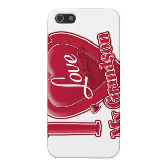 I Love My Grandson red - heart iPhone 5 Cases