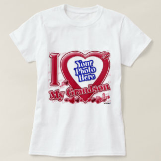 I Love My Grandson red heart - photo T-Shirt