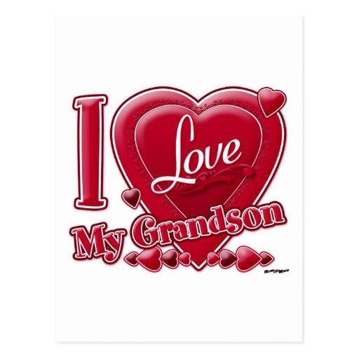 Love My Grandson red heart Postcard - 41.3KB