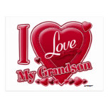 I Love My Grandson red - heart Postcard