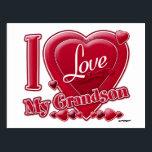 "I Love My Grandson red - heart Postcard<br><div class=""desc"">I Love My Grandson red - heart</div>"