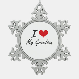 I Love My Grandson Snowflake Pewter Christmas Ornament