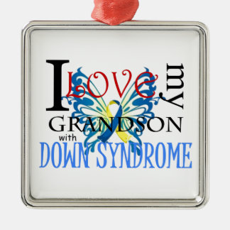 I Love My Grandson with Down Syndrome Metal Ornament