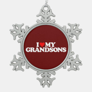 I LOVE MY GRANDSONS SNOWFLAKE PEWTER CHRISTMAS ORNAMENT