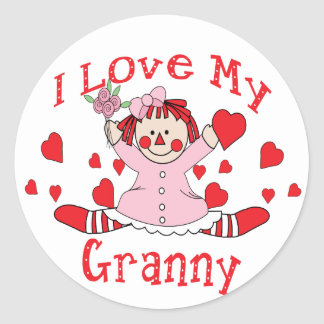 I love My Granny Rag Doll & Hearts Classic Round Sticker