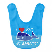"""I Love My Grauntie!"" Blue Whale With Heart Bib"